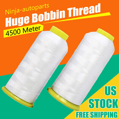 Huge Bobbin Thread for Sewing and Embroidery Machine 2 White Colors Set