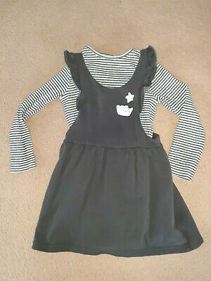 Girls Age 5-6 Years Old Next Outfit Dress Top Pinafore Grey Vgc