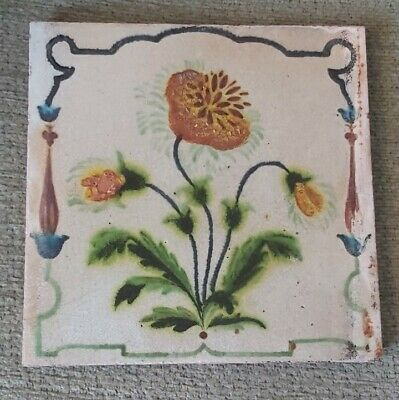 Rare Hand -Painted tile by Maw & Co