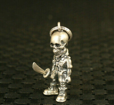 100% 925 Silver handmade Cool Man statue pendant netsuke collectable necklace