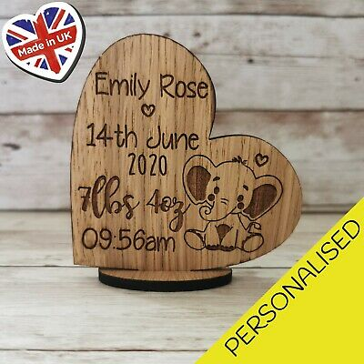 New Born Baby Any Name Personalised  Heart Stand Up Plaque Engraved Little One