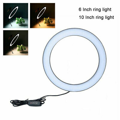 LED Ring Light Studio Photo Video Dimmable Lamp Tripod Stand Camera Selfie Phone