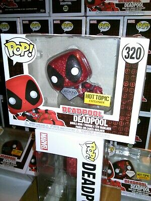 Funko Pop Marvel DEADPOOL #320 Hot Topic Exclusive DIAMOND COLL + FREE Protector