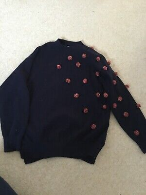 Zara girls Navy Blue  blue  knit jumper with pom-poms (age 10 years)