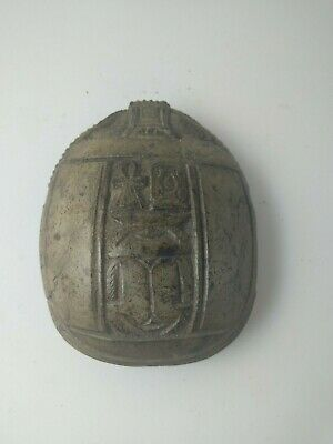 RARE ANTIQUE ANCIENT EGYPTIAN Scarab Beetle Key of Life Stone 1660 Bc