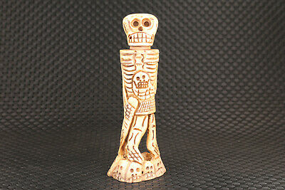 Chinese old deer horn hand carved skull man statue figure collectable