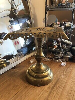 "Antique 19Th Century Brass 10"" Pedestal Trivet Kettle/Pot Stand Good Condition"