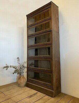 Early 1900s Antique Oak Stacking Barristers Bookcase