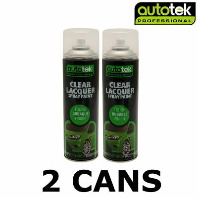 Autotek 2 X Clear Lacquer 500ML Spray Paint High Gloss High Coverage