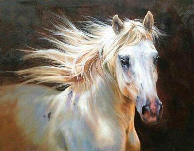 ZOPT692 animal horse in stable with three dogs  hand art OIL PAINTING on CANVAS