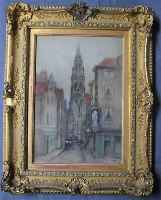 """Antique Framed Watercolor: """"Old Street in Antwerp,"""" late 19th Century"""