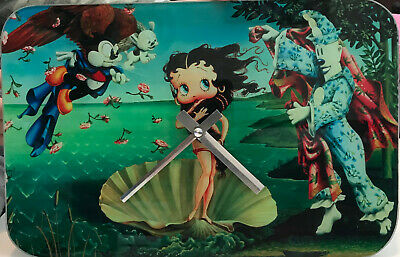 Licnensed Betty Boop Animated Cartoon Girl Gift Decor Analog Glass Wall Clock