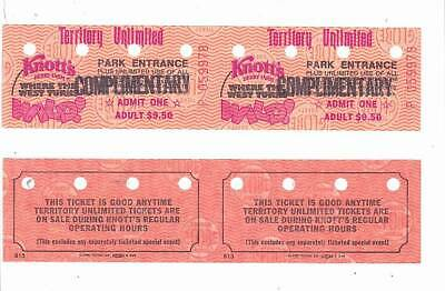 Two KNOTT'S BERRY FARM complimentary passes from the 1980s!