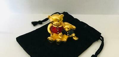 "FULL 1998 Estee Lauder BEAUTIFUL ""TEDDIES"" Solid Perfume Compact W/POUCH"