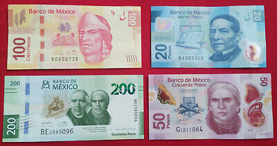 Lot of 4 Mexico Mexican 20,50,100& New Design200 Circulated Pesos Bills Currency