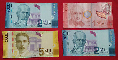 *Lot of 4 Costa Rica One 1000,Two 2000,One 5000 Cir&UNC Pesos Bills Currency*