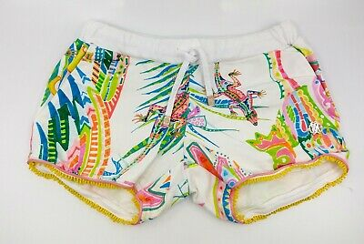 Roberto Cavalli Girls Kids Shorts Floral Tropical Drawstring Sz 7 Pre-Owned Ec