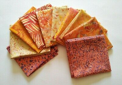 10 x Batik Fat Quarter Bundle 100% Cotton. Orange, Yellow, Pink