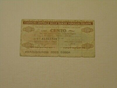 ITALY 1977 100 LIRE CIRCULATED EMERGENCY ISSUE BANKNOTE P-G1334a17