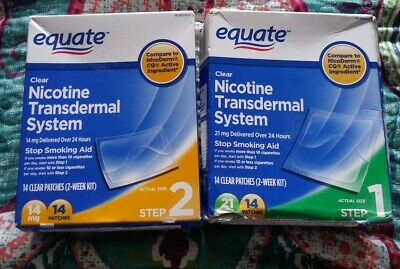 Equate Step 1 & 2 Clear 14 Patches 21mg 14 Patches 14mg  Total 28 Exp 2022
