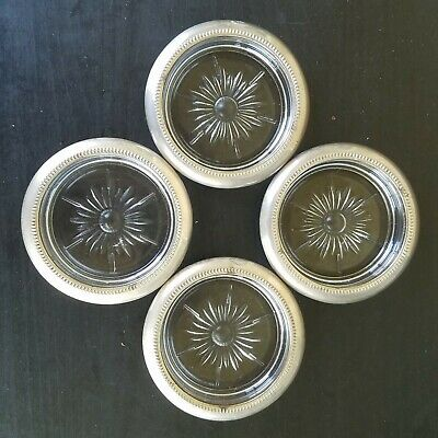 Vintage Set of 4 Silver Plated Crystal Glass Coaster Ashtrays. Marked Italy