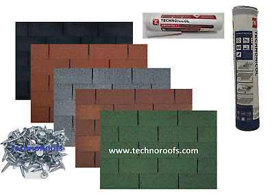 Roof Felt Tiles Shingles FREE NAILS (OTHER SHAPES AND COLOURS AVAILABLE)