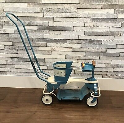 1950's VINTAGE TAYLOR TOT TURQUOISE BABY STROLLER WALKER with SMOOTH RIDE