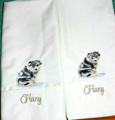 Australian Shepherd  2 White  Pillow Cases Embroidered Personalized