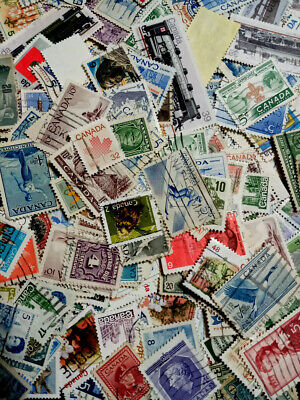 Canada, Lot Of 100 Mostly Older All Different Good Quality Off Paper Stamps