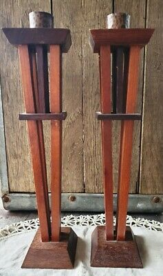 Arts and Crafts Wood and Hammered Copper Candlesticks Artist Ric Kolibar Signed