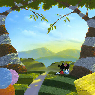Disney Fine Art Mickey Minnie - Love's Path by Michael Provenza Giclée on Canvas