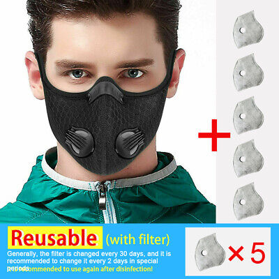 Outdoor Half Face Shield Activate Carbon Filter Anti Dust Mouth Cover +5× Filter