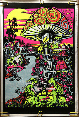 Original Vintage Poster mushroom magic psychedelic velvet Blacklight pinup