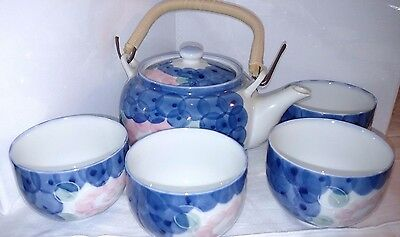 Teapot and four matching tea cups blue and pink flowered motif,Japanese