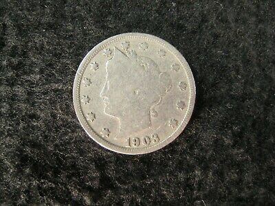 "Antique Us Coin ""V"" Liberty Head 5 Cent Nickel 1903"
