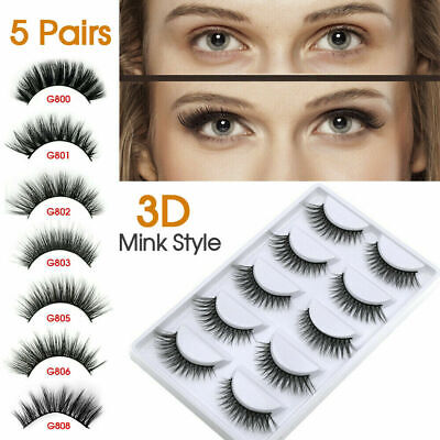 3D Mink Natural Thick False 5 Pairs Fake Eyelashes Eye Lashes Makeup Extension