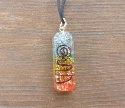 Orgone 7 Chakra Layered Gemstone Rectangle Pendant Orgonite (One)