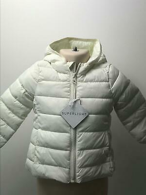 Bnwt Girls Dunnes Stores Cream Hooded Padded Coat Jacket Kids Age 9-12 Months