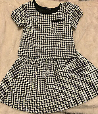 Girls George Black / White 2 Piece Skirt & Top Set Age 10 11 Lovely Condition 💖