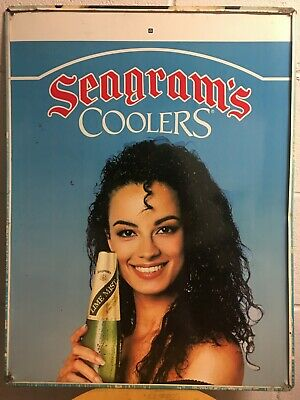(One and Only!) Vintage Seagram's Cooler's Double-Sided Tin Sign Made in USA!