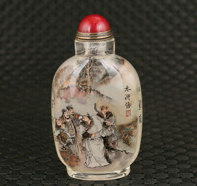 Chinese glass Hand inside painted Water Margin general snuff bottle decoration