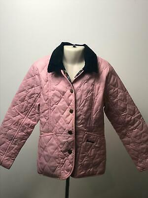Girls Barbour Baby Pink & Navy Collar Quilted Coat Jacket Kids Size S