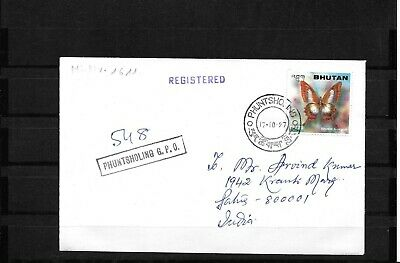 Bhutan Reg. Cover to India Butterfly/Schmetterling