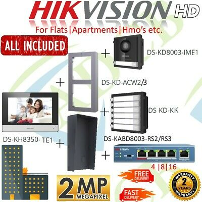 Hikvision 4 6 8 Or 10 Way Flats HMO Apartments Crystal HD Video Intercom System