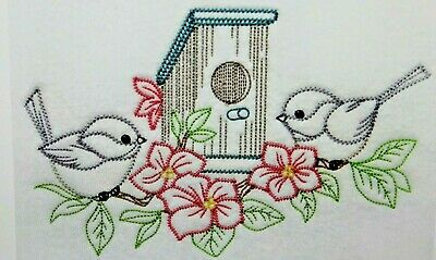 Vintage Birds Birdhouse Cherry Blossom 2 White Pillowcases Embroidered Beautiful