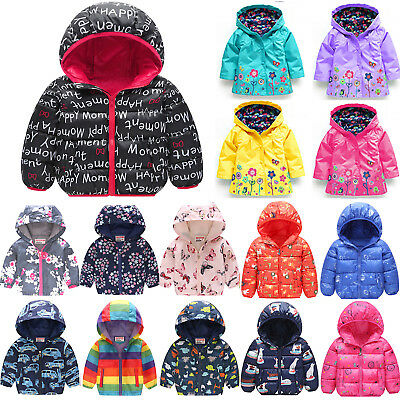 Baby Boys Girls Hooded Floral Winter Jackets Coats Casual Hoodie Hooded Outwear