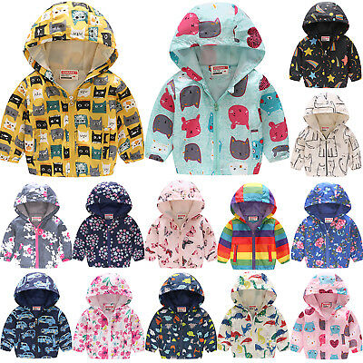 Kids Boys Girls Hoodie Hooded Floral Printed Coat Hooded Outwear Zipper Jackets