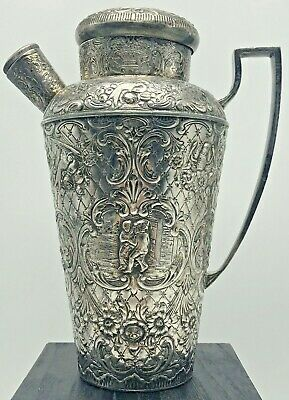 Antique Cocktail Shaker Silverplate Repousse Overlay by Webster & Son New York