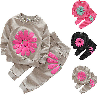 Floral Print Kid Girl Tracksuit Outfits Sweater Jumper T-shirt Top Trouser Pant