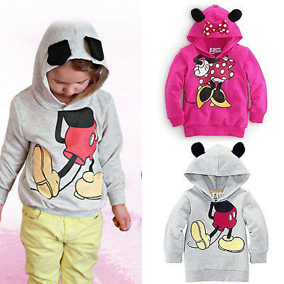 Kids Girls Mickey Minnie Mouse Hoodies Sweater Cute Sweatshirt Pullover Clothes